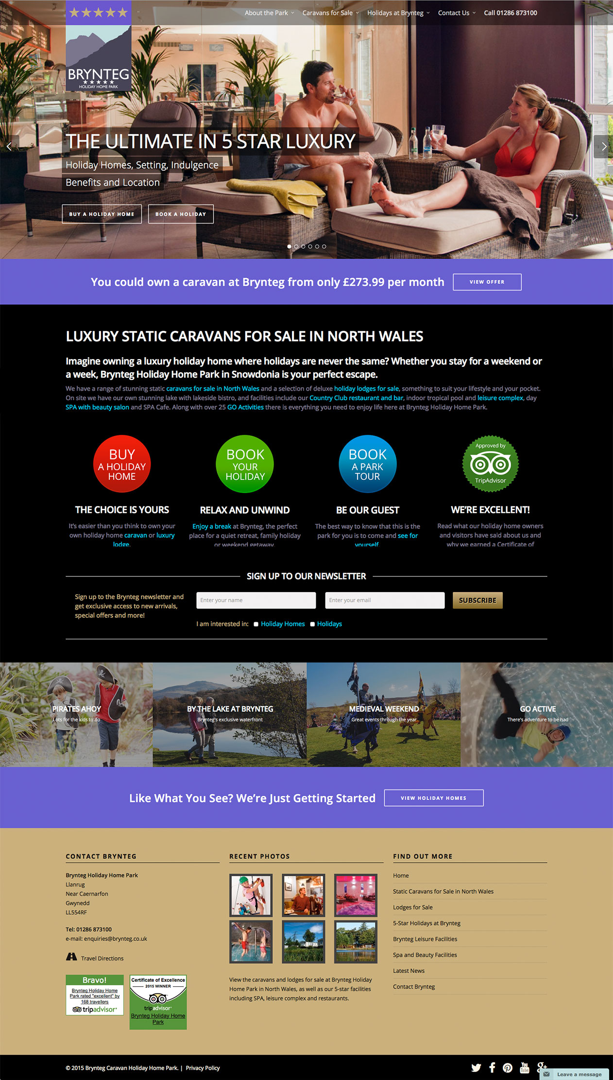 Brynteg Holiday Home Park website design by Artychoke