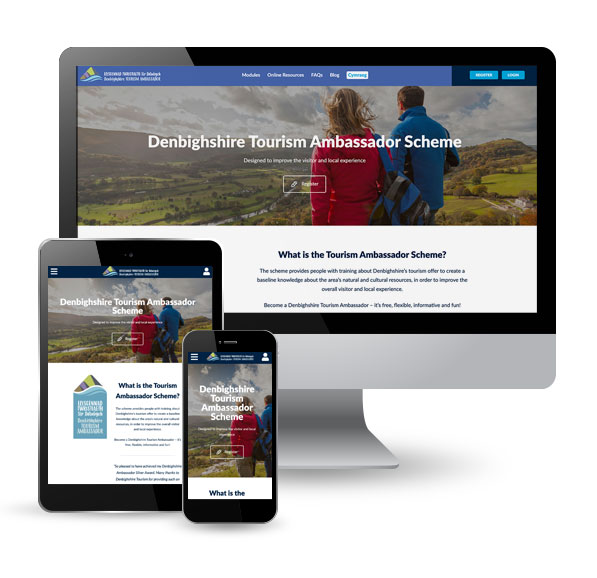 Denbighshire Ambassadors website, desktop, tablet, mobile