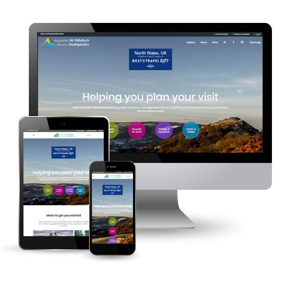 Discover Denbighshire website screens
