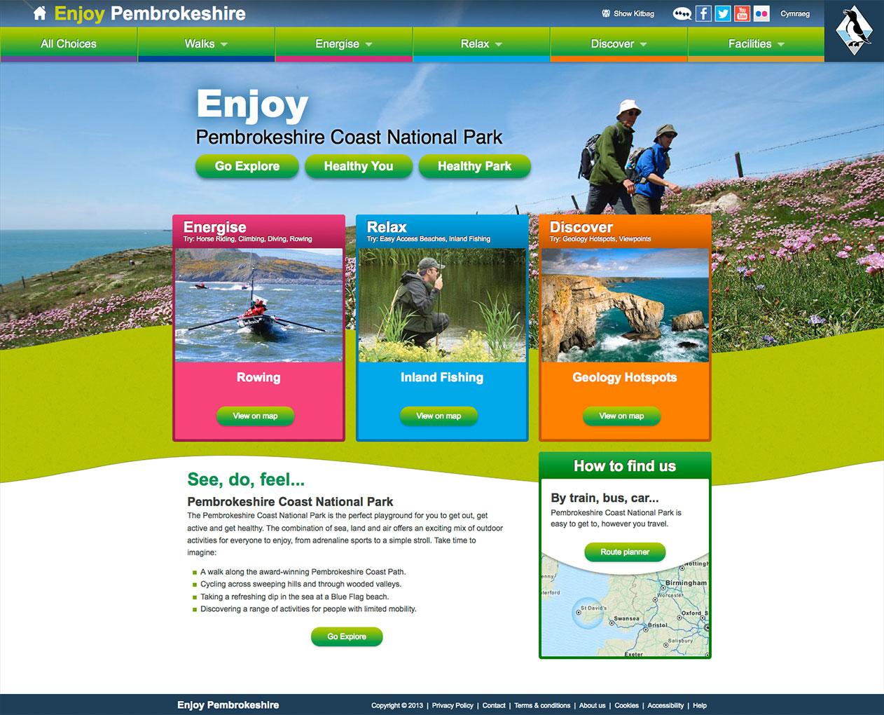 Enjoy Pembrokeshire website design by Artychoke