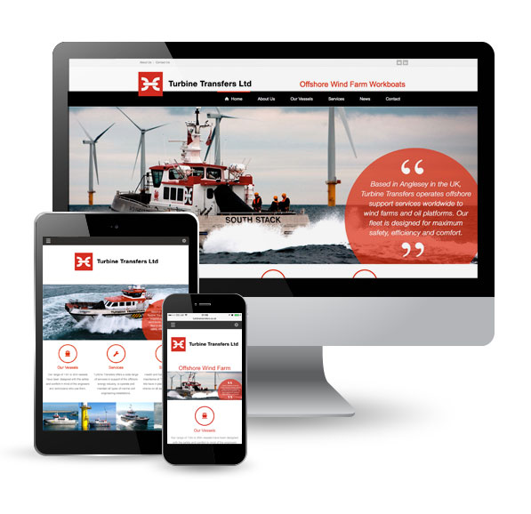 Turbine Transfers website on pc, tablet and mobile