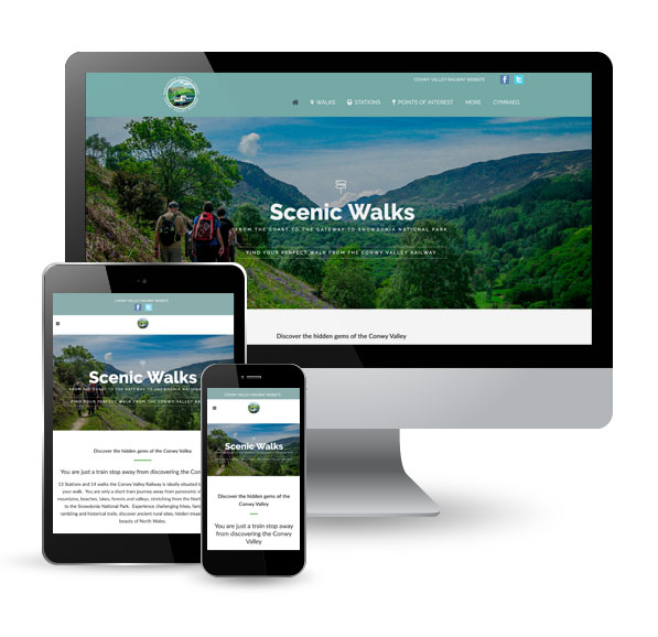 Conwy Walking website, desktop, tablet, mobile
