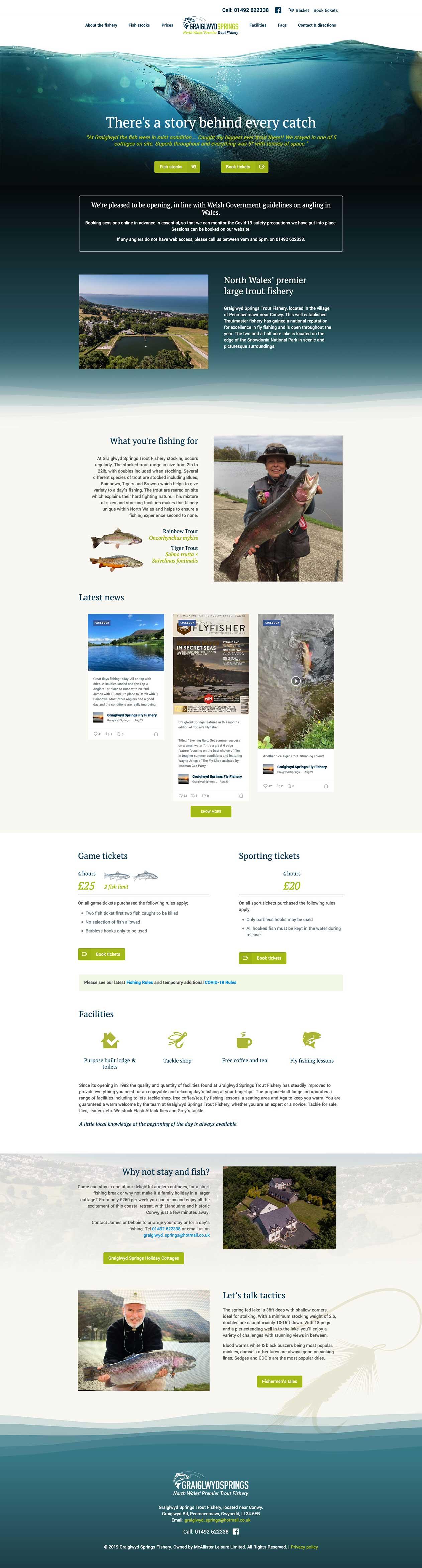 Graiglwyd Springs Fisheries website