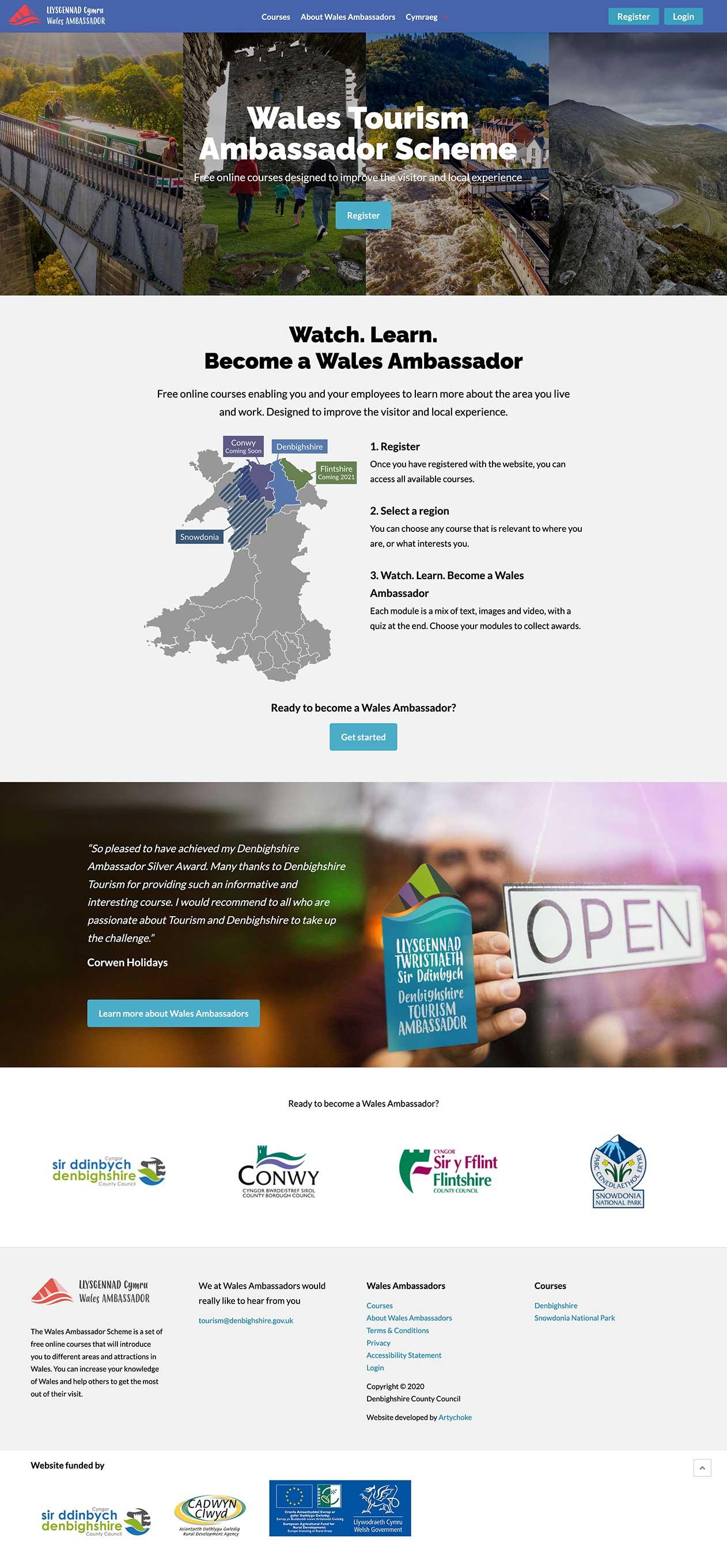 Artychoke Ambassador Wales website